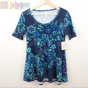 🆕 LuLaRoe Blue Vine Floral Print Perfect Tee